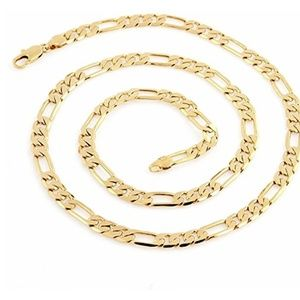 Other - Cool 18K Gold Plated Figaro Link Necklace Chain